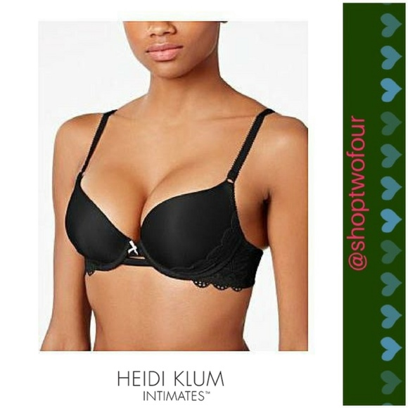 e8f345ba5638d Heidi Klum Super Boost Geometric Lace Bra- black